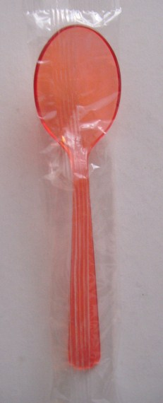 Teaspoon - Heavy Weight - Translucent Red - Individually Wrappe